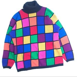 Vintage Colorful Block Pattern Sweater Size Medium